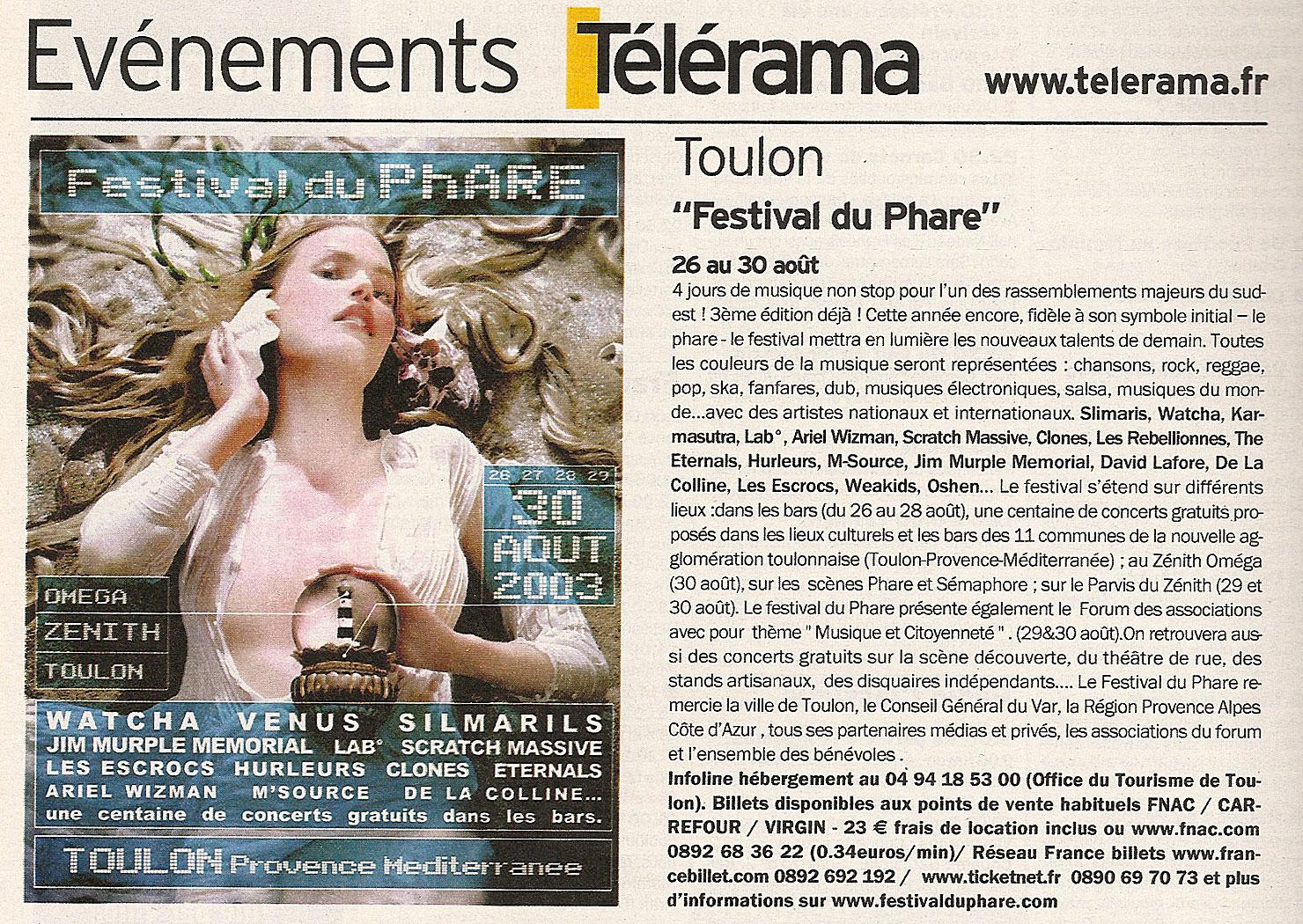 Festival du Phare | Toulon | 2003 | revue de presse Festival du Phare | Toulon | 2003 | revue de presse telerama 2003 festival du phare jean vincent banes