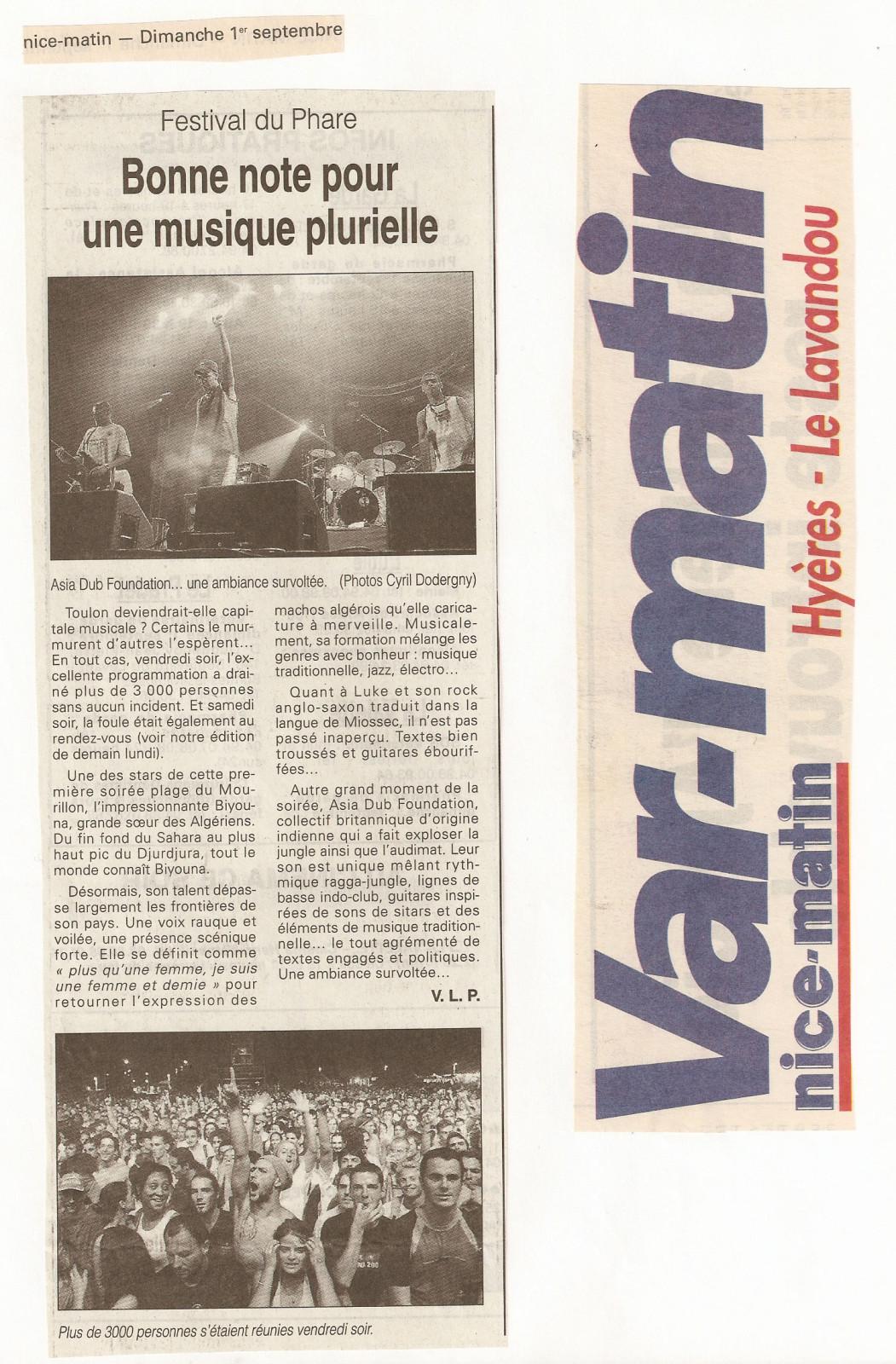 Festival du Phare  | Toulon | 2002 | Revue de presse Festival du Phare  | Toulon | 2002 | Revue de presse var matin festival du phare