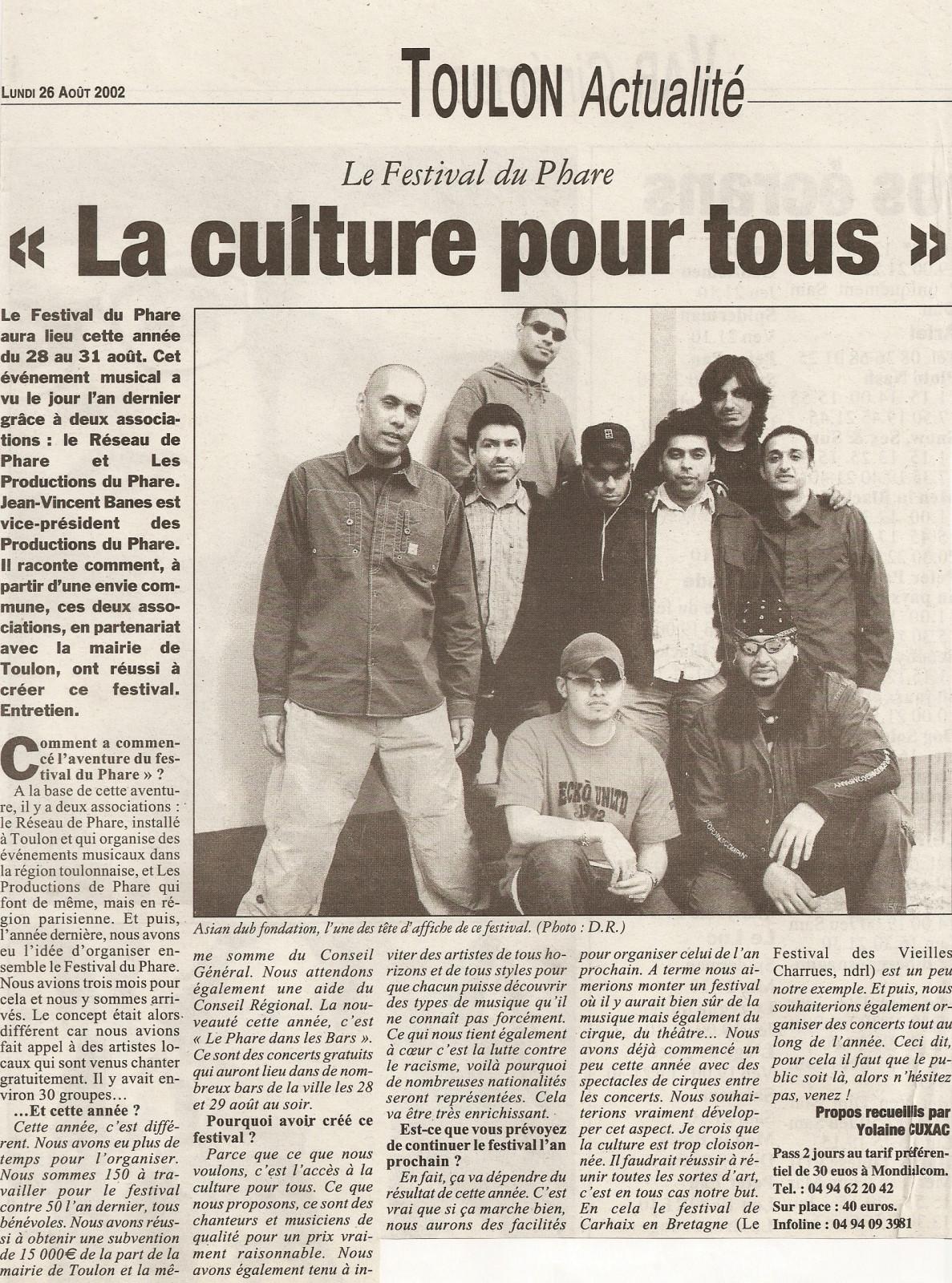 Festival du Phare  | Toulon | 2002 | Revue de presse Festival du Phare  | Toulon | 2002 | Revue de presse var matin la culture poutr