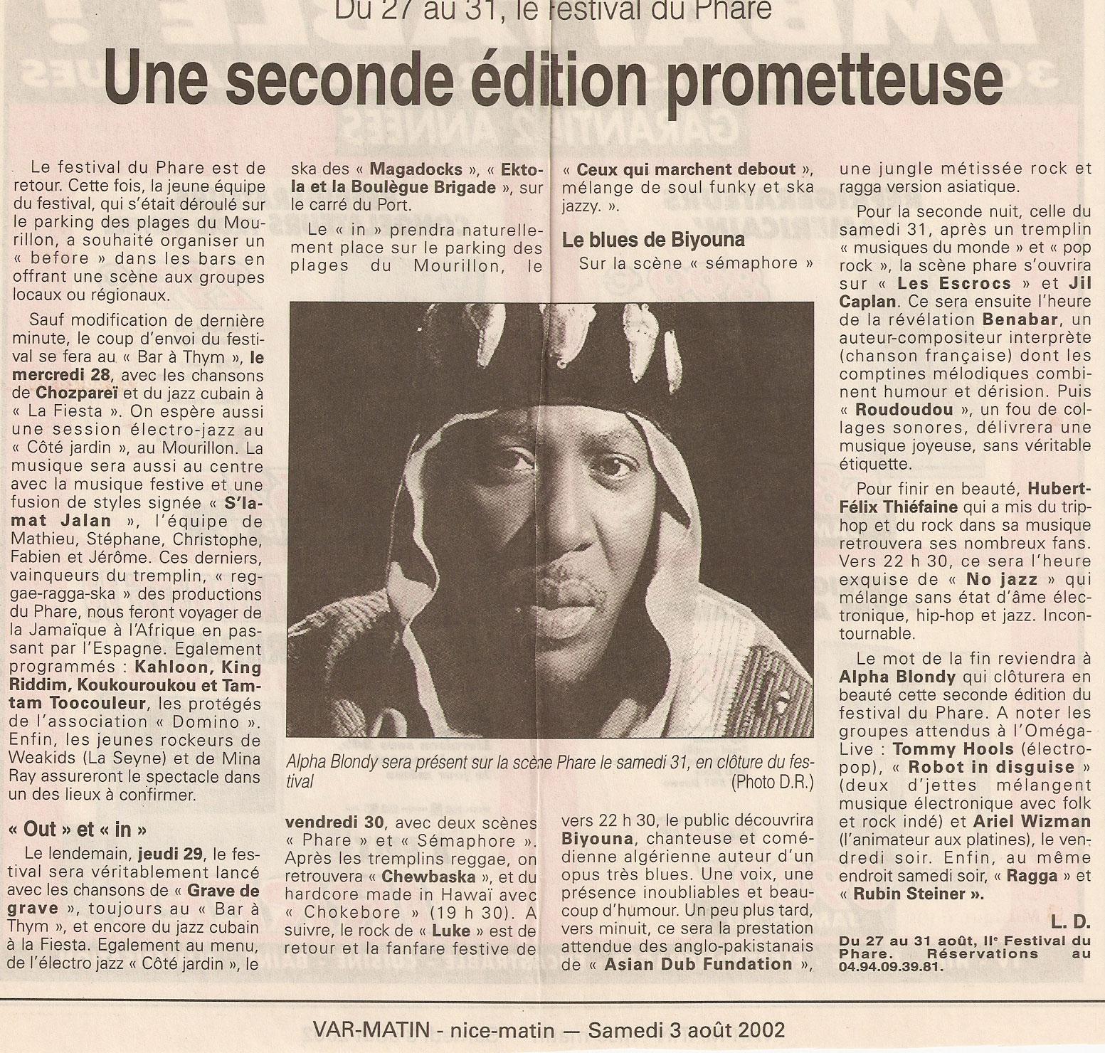 Festival du Phare  | Toulon | 2002 | Revue de presse Festival du Phare  | Toulon | 2002 | Revue de presse var matin une edition prome