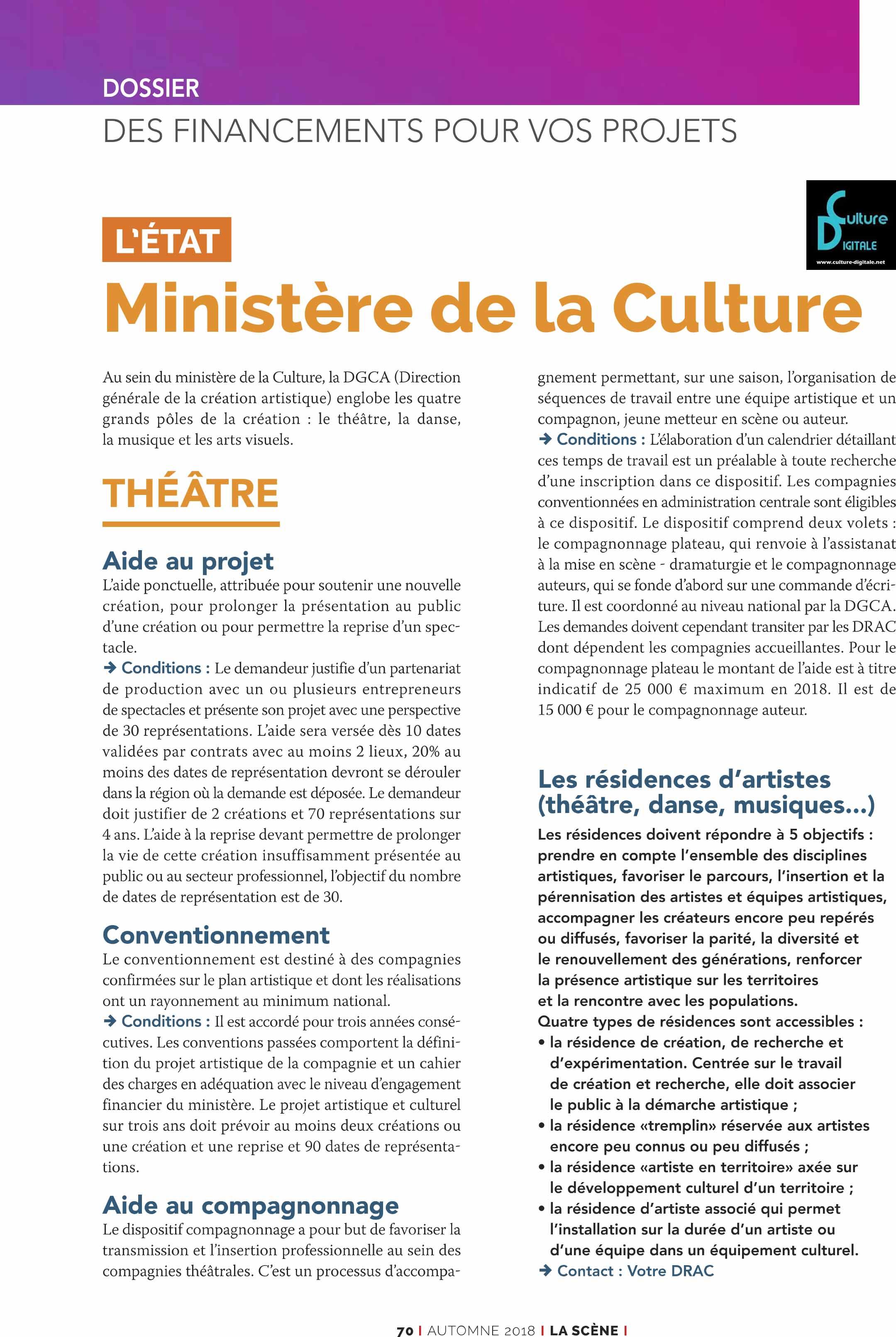 Les financements du Ministère de la Culture Les financements du Ministère de la Culture les financements du ministre de la culture www
