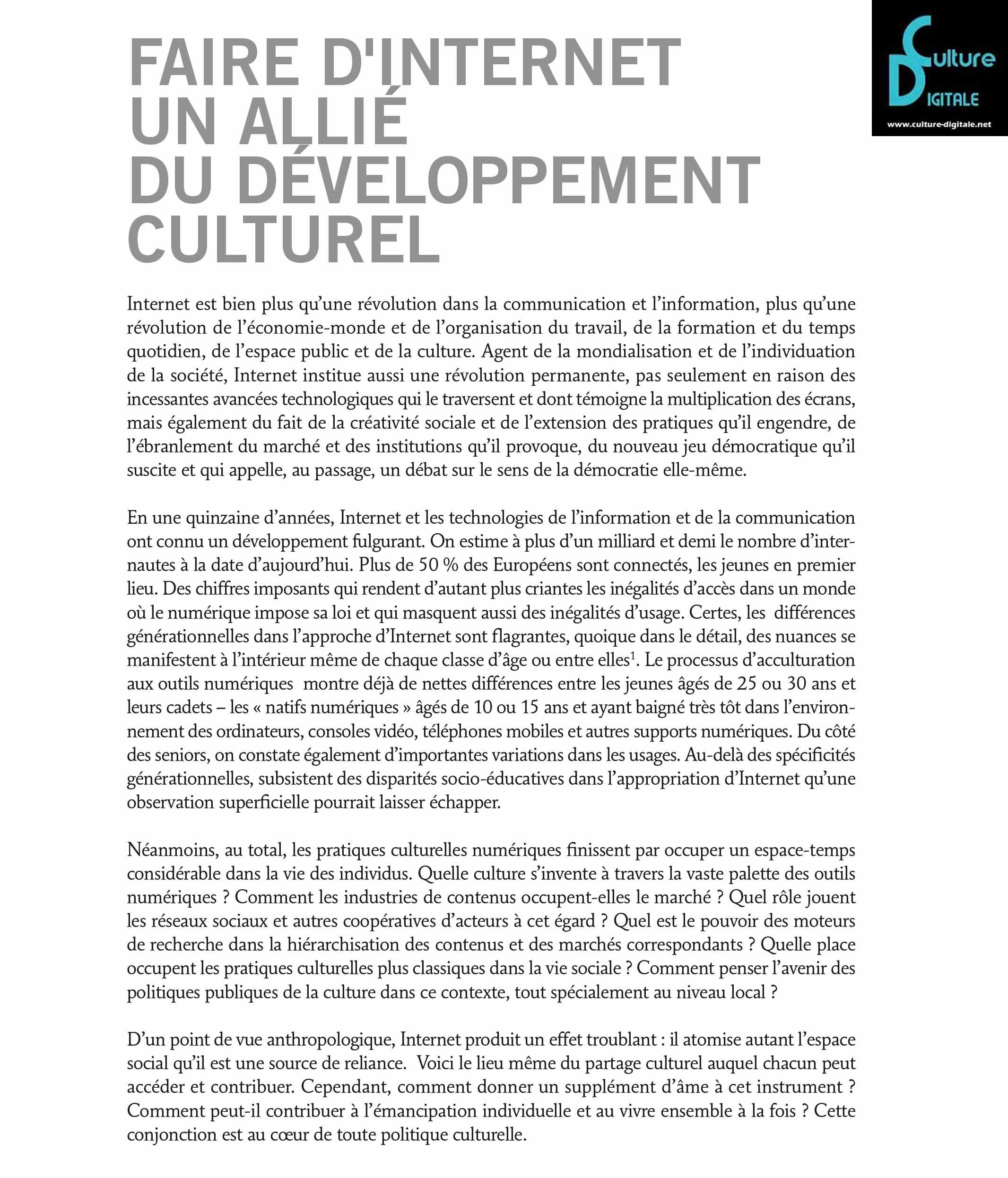 Faire d'internet un allié du développement culturel Faire d'internet un allié du développement culturel faire dinternet un alli du developpement culturel www