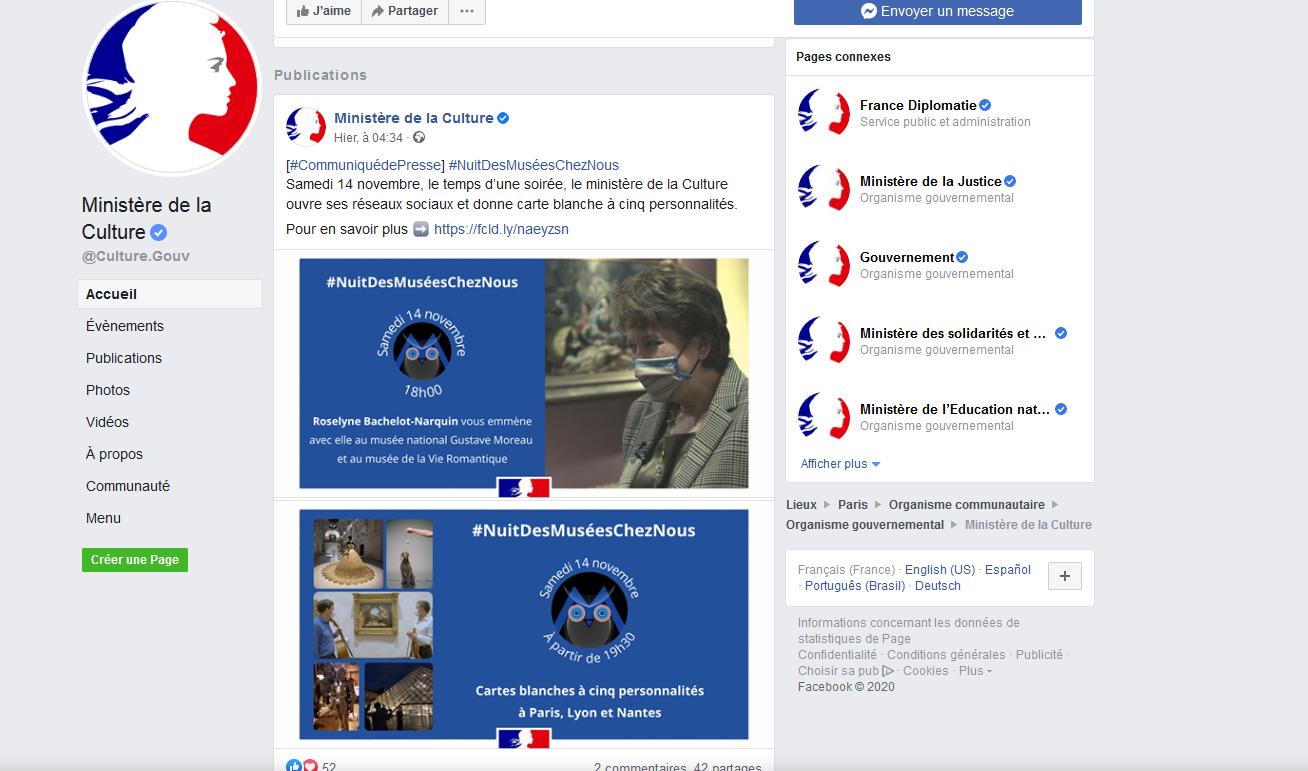 Facebook du ministère de la Culture screenshot 2020 11 14 ministere de la culture